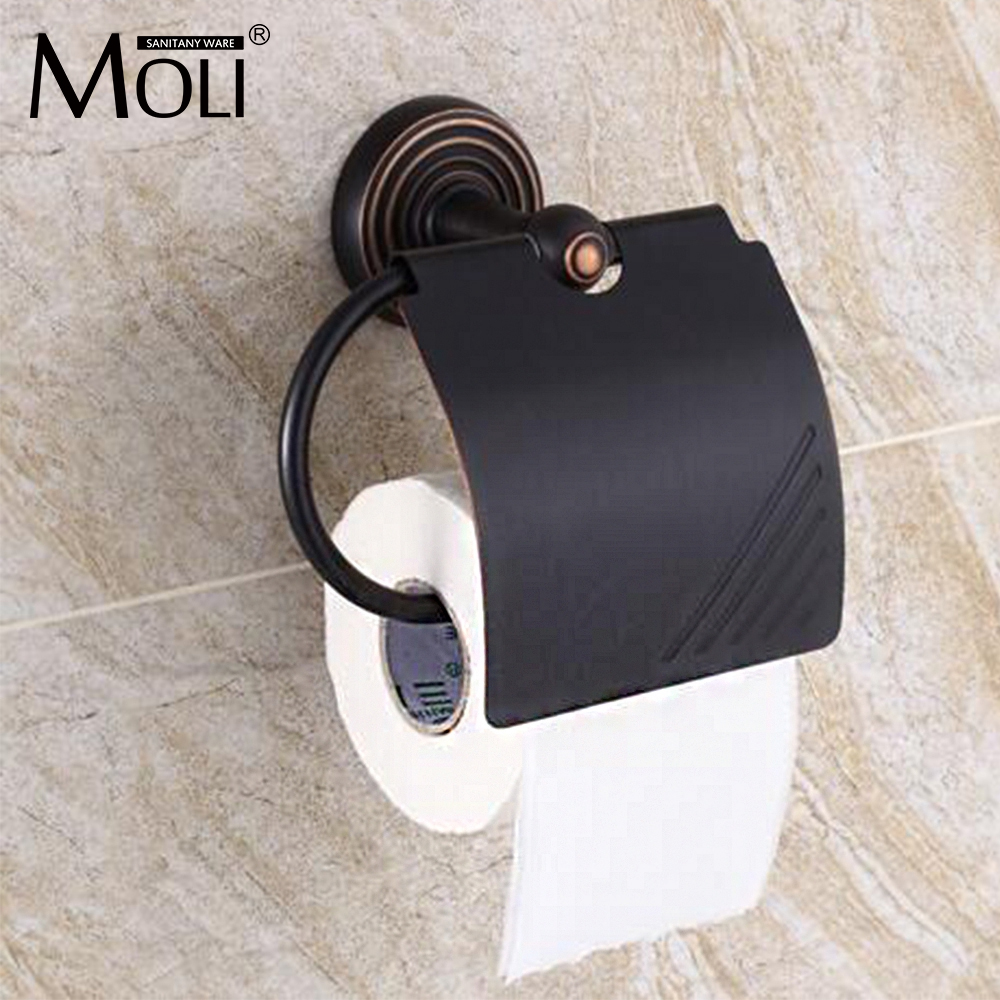 Oil-rubbed bronze toilet paper holder with lid copper paper towel holder roll tissue box black bathroom hardware copper open toilet paper tissue towel roll paper holder silver