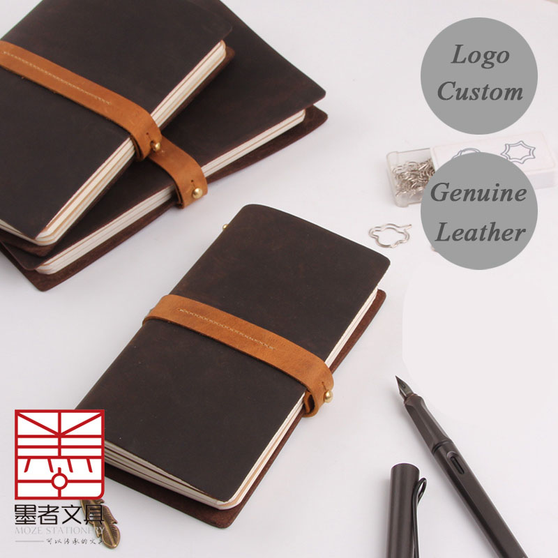 Logo name engrave vintage sketchbook travelers genuine leather loose leaf notebook stationery writing pads notepad diary planner vintage logo custom writing pads commercial office leather notebook stationery a5 loose leaf diary spiral diary notepad