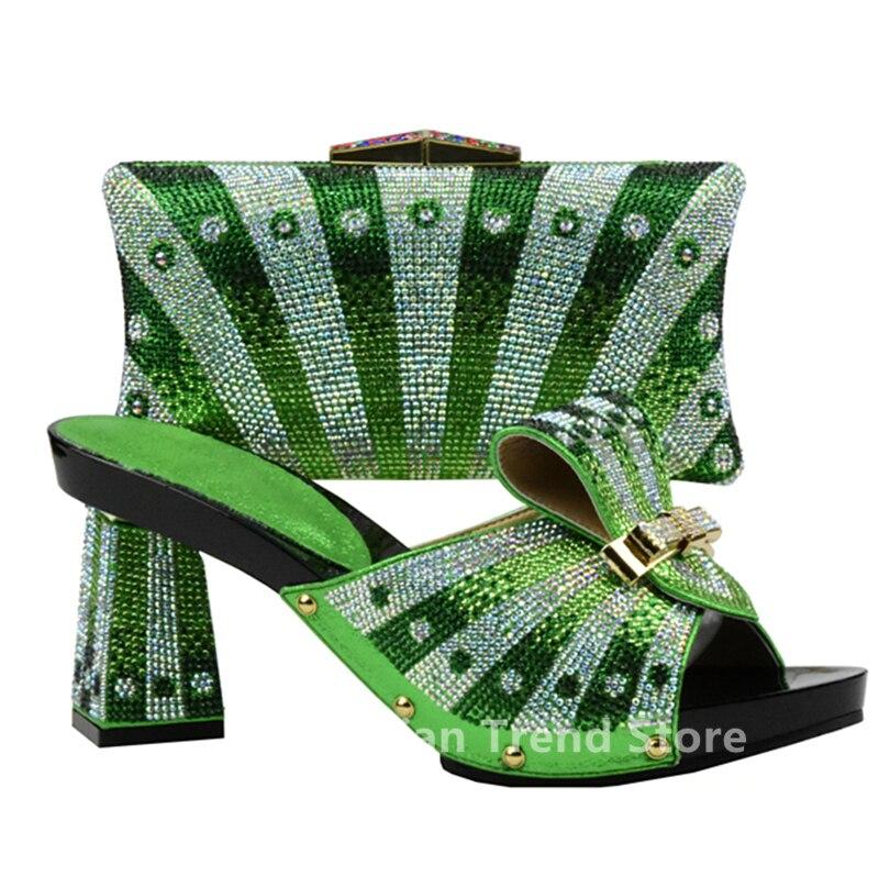 Matching De Italianos Rhinestone Para Conjunto Las Partido Negro rojo Zapatos azul Y Nueva verde oro Negro Bolsos Bolsa Color Llegada Decorado Con Mujeres OqgxIawvPa