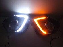 eOsuns led drl daytime running lights daylights + yellow turn signal + blue night light for Mitsubishi asx top quality