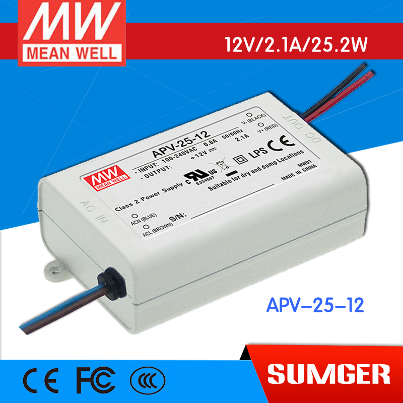 ФОТО [Freeshiping 6Pcs] MEAN WELL original APV-25-12 12V 2.1A meanwell APV-25 12V 25.2W Single Output LED Switching Power Supply