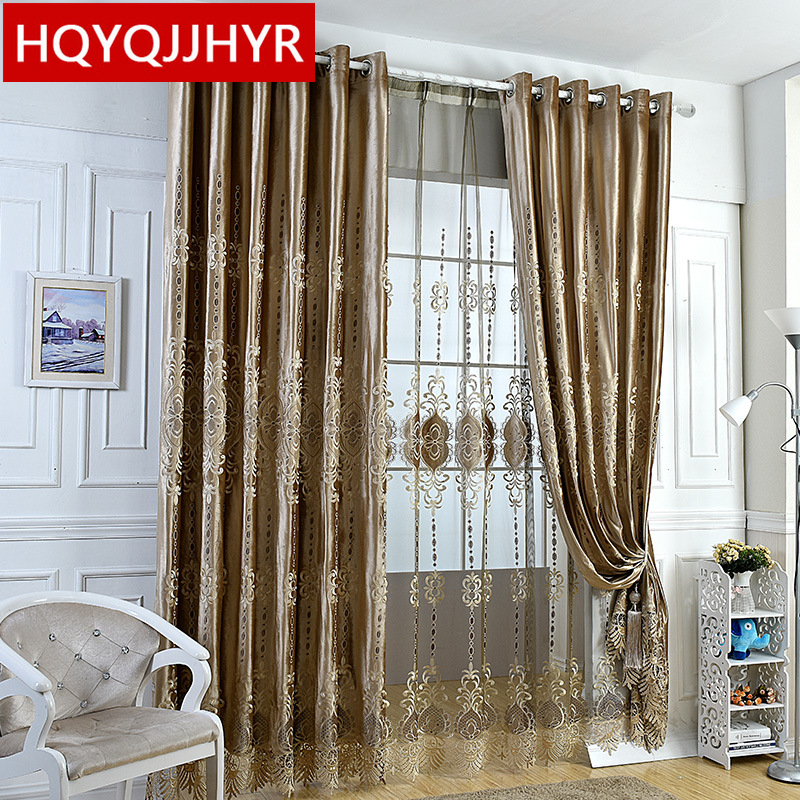Europe High-end Custom Luxury Velvet Blackout Curtains For Living Room Windows With Classic Embroidery Voile Curtain For Bedroom