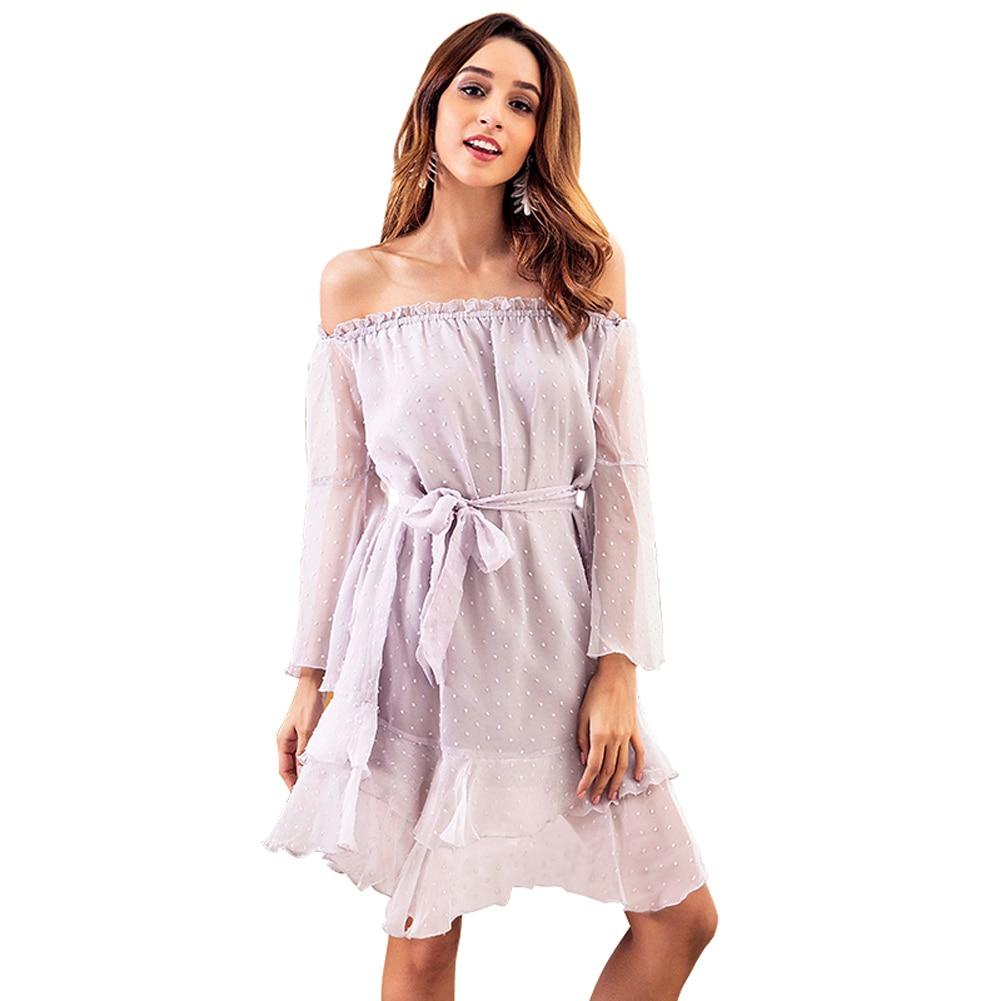 Summer Autumn Women Sexy Dress Chiffon Long Sleeve Off Shoulder Belt Ruffles Casual Dresses H9
