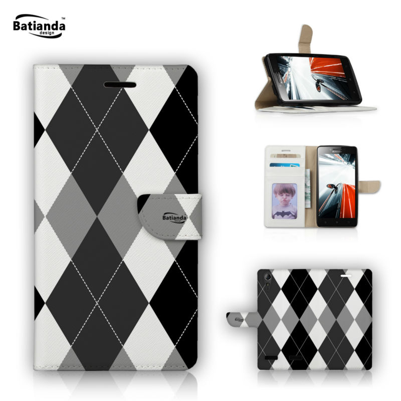 PU Leather Cases For Lenovo K3 A6000 5 Wallet Stand font b Tartan b font Pattern