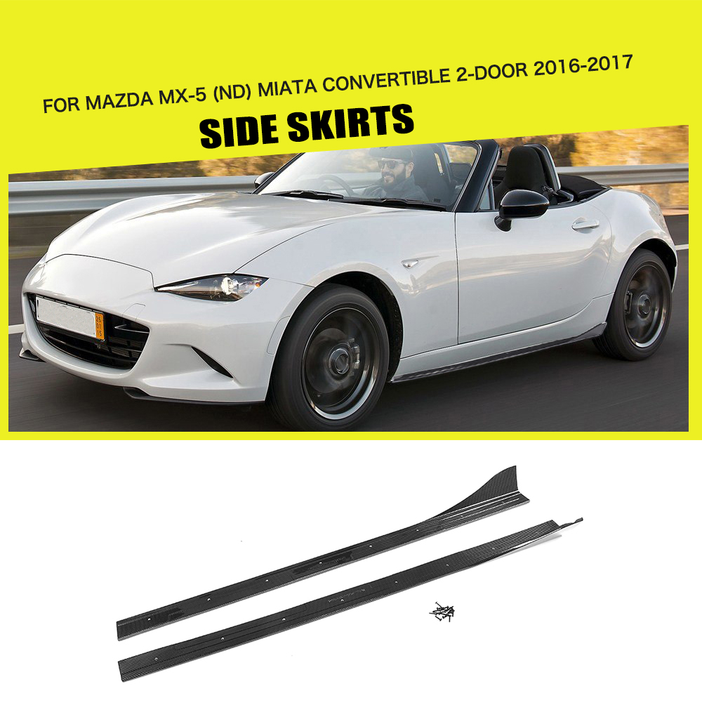 Side Skirts Bumper Aprons Carbon Fiber for Mazda MX 5 ND Miata Convertible RF GX 2 Door 16-17 Car Styling