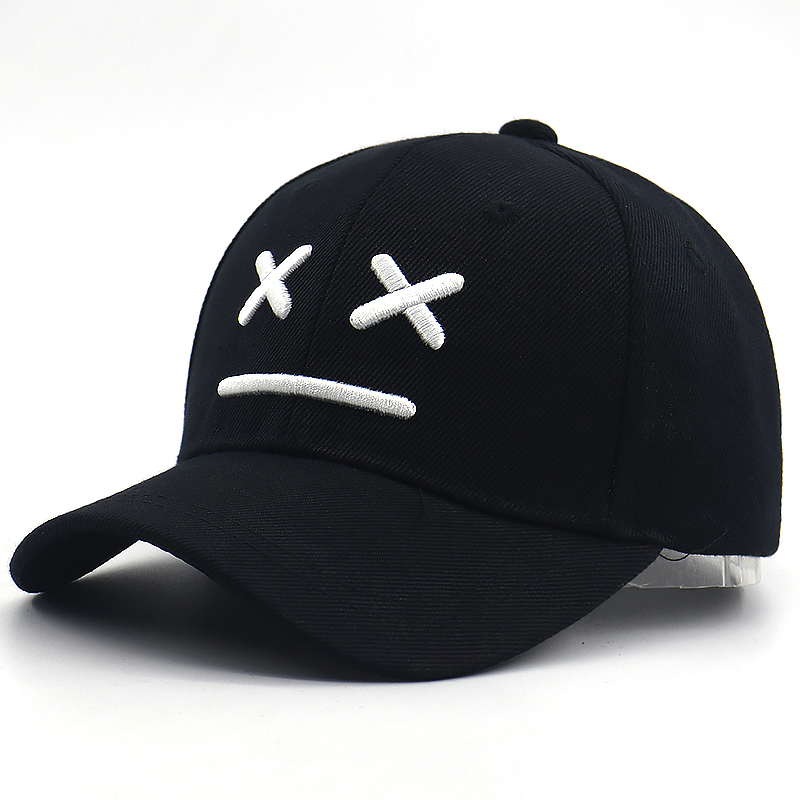 Sad boy   baseball     cap   for kids cotton adjustable 3D embroidery bone kids   caps   sad face hip hop snapback hat for little boys girls