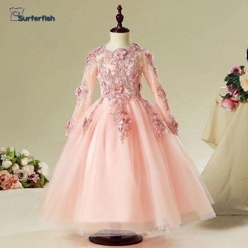Rétro fleurs robe de princesse européenne américaine dentelle robe de soirée 3D fleurs à manches longues vacances fête porter la saint-valentin robe