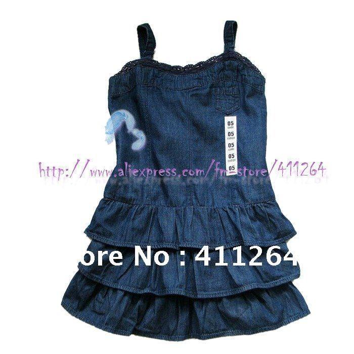4b1bd73af8 4pcs lot(2 7Y) wholesale za kids dress denim tiered dress za girls sling  cake dress with lace smocked back soft jeans dress-in Dresses from Mother    Kids on ...