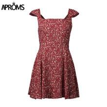 Aproms Wine Floral Print Boho Short Dress Women Backless High Waist Summer Dress Vintage Beach Dress Sundress Vestidos 11261