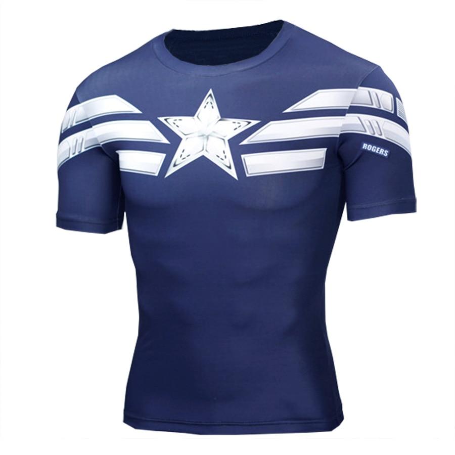 2017 Hombres Camisetas Geométricas Capitán Americano Bodybuilding - Ropa de hombre