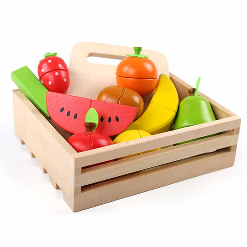 Learning Education Wooden Toys Fruit Cut Music Boxed Montessori Educational Wooden Toys Drop Shipping