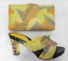 Wunderbare sommer design Italien Fashion gelb farbe Schuhe Und Taschen Für Afrikanische Partei Oder Hochzeit mit high heel (TT09)