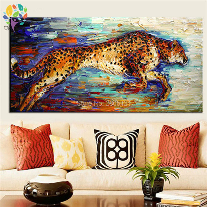 hand painted canvas picture running Hunting Cheetah canvas art oil - Home Decor - Photo 4