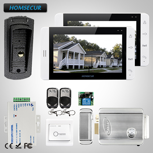 HOMSECUR 7 Video Door Phone Intercom System+White Monitor for Apartment 1C2M+ L3 : TC041 Camera + TM703-W Monitor(White)+Lock