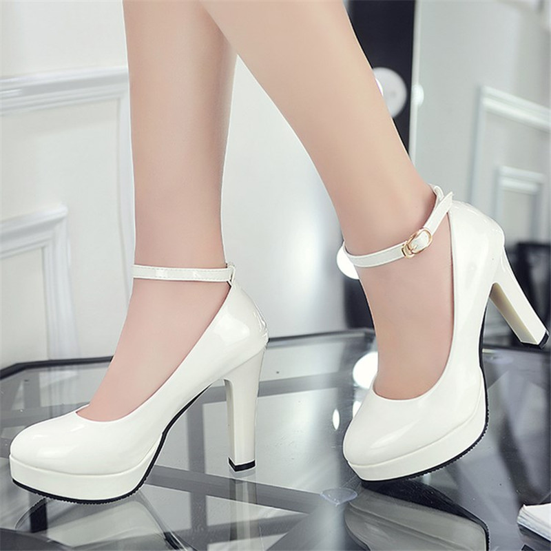 10.5CM High Heel Shoes Women Platform Pumps New Ladies Patent Leather Thin High Heels Female Fashion Slip On Office Career Shoes