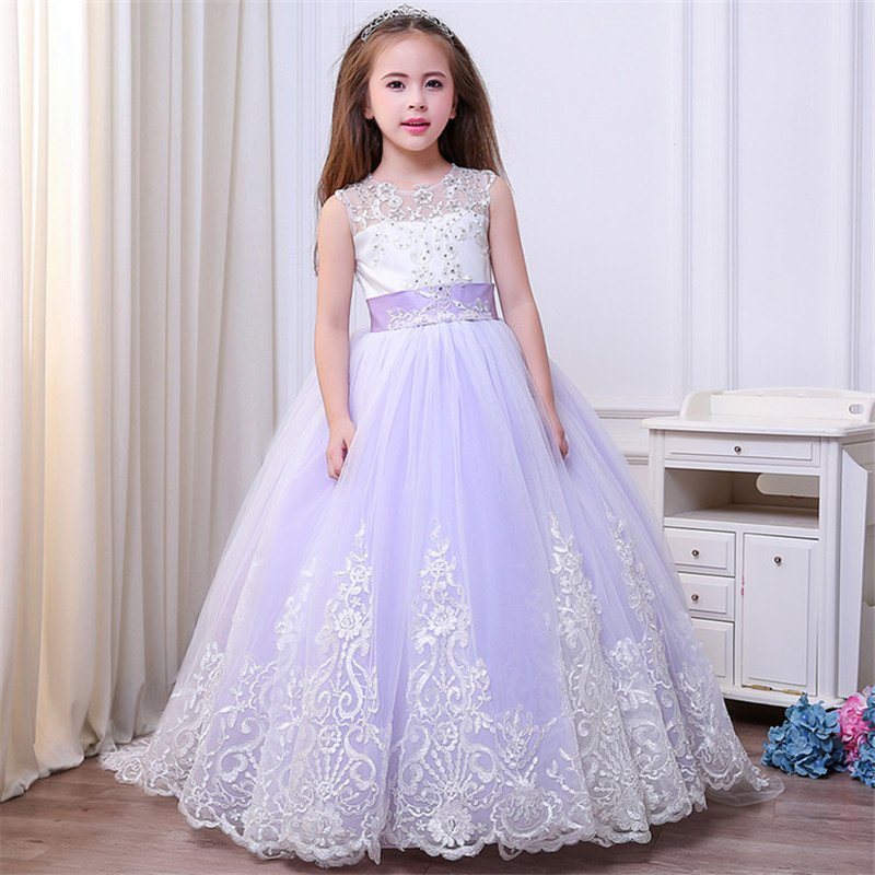 Lace Tulle Flower Girl Dresses for Wedding Pageant Ball Gown Train Girls First Communion Dress Elegant Kids Party Princess Dress 2018 purple v neck bow pearls flower lace baby girls dresses for wedding beading sash first communion dress girl prom party gown