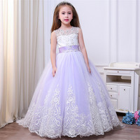 Lace Tulle Flower Girl Dresses for Wedding Pageant Ball Gown Train Girls First Communion Dress Elegant Kids Party Princess Dress