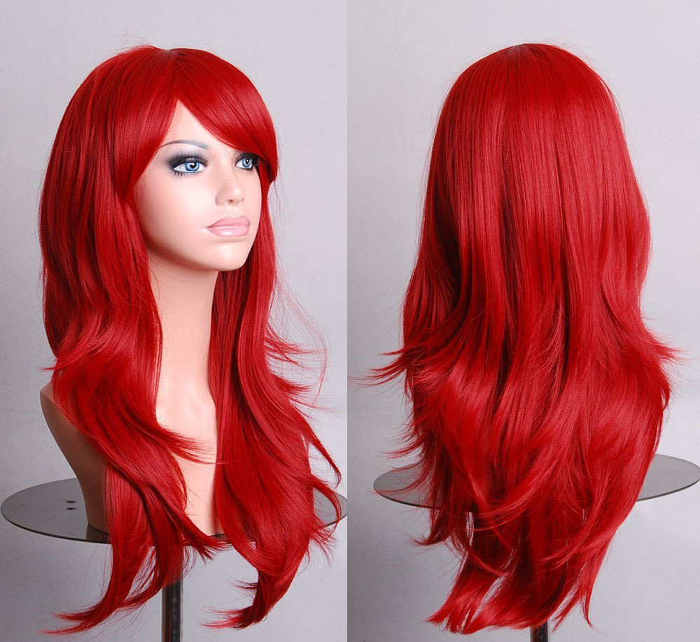 Harajuku Cosplay Wig Red High quality 70CM Curly Wave Hair Long Synthetic hair pad Perruque peluca  peruca femininas
