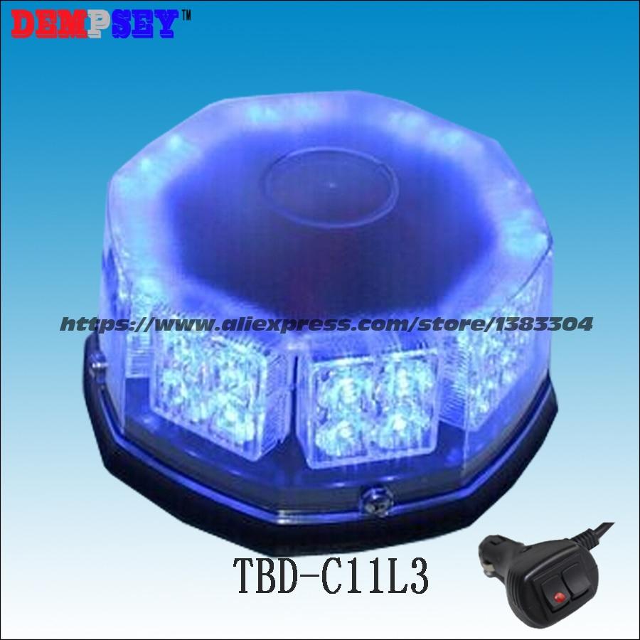 TBD-C11L3 High quality DC10-30V,32pcs 1W LED Blue ambulanc beacon/warning light/round light with cigar light switch,15flash