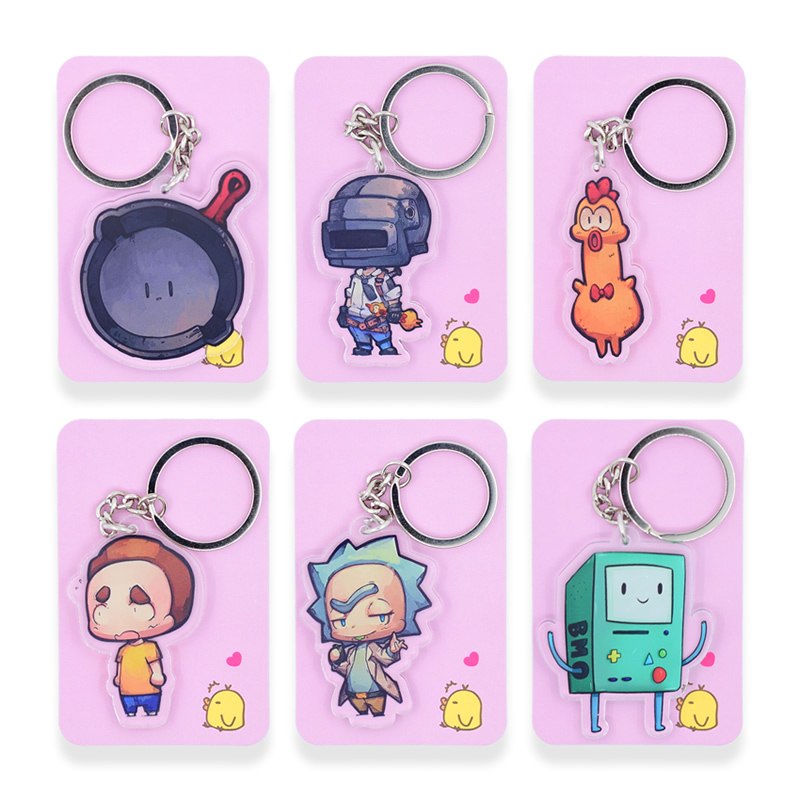 6 styles PUBG Keychain Rick and Morty Key Chain Double Sided Cartoon Keyrings Cute Anime Acrylic Pendant Accessories PCB122-127 lakers шорты