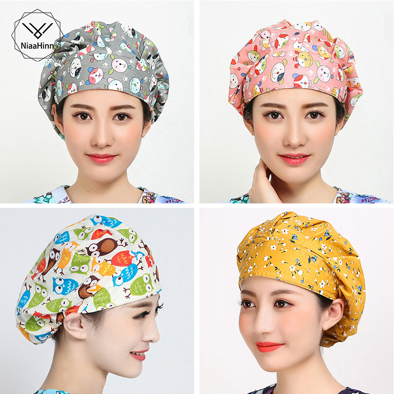 Animals Prints Cute Hats Women Long Hair Scrub Surgical Caps Clinic Hospital Dental Surgical Laboratory Pharmacy Medical Caps