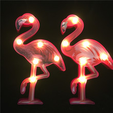 Smart Upgrade 3D Painted Flamingo LED Night Light AA Battery Power Home Table Lamp Warm White Hanging Wall Decor Lighting