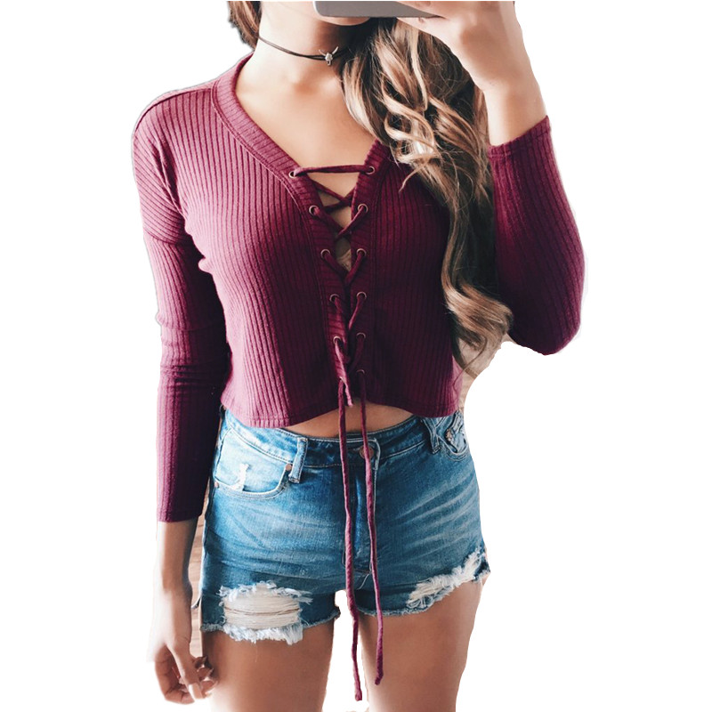 Autumn Plus Size 2016 Women Cotton Knitted Short T shirt Sexy Crop Tops V neck Long Sleeve Stripe Bandage Tight Lace Up T-shirt