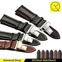 High Quality Watchband Leather Man 20mm 22mm Watch Strap Band With Butterfly Buckle For Omega Tissot