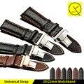 Alta qualidade homem de couro pulseira 20mm 22mm assista bracelete banda com butterfly fivela para omega tissot seiko casio mulher + ferramentas