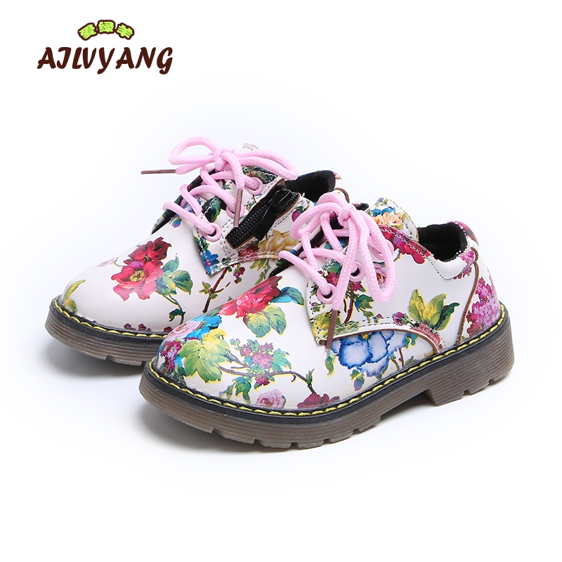 2018 Spring Girls Leather Shoes Children England Style Flower Shoes Kids Casual Lace-up Flats Shoes Toddler Girls Footwear
