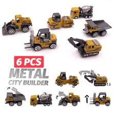 6 pcs סגסוגת מיני הנדסת רכב דגם 6in1 1:64 מתכת Diecast הנדסת צעצוע רכב רכב צעצוע Dump משאית מלגזה חופר