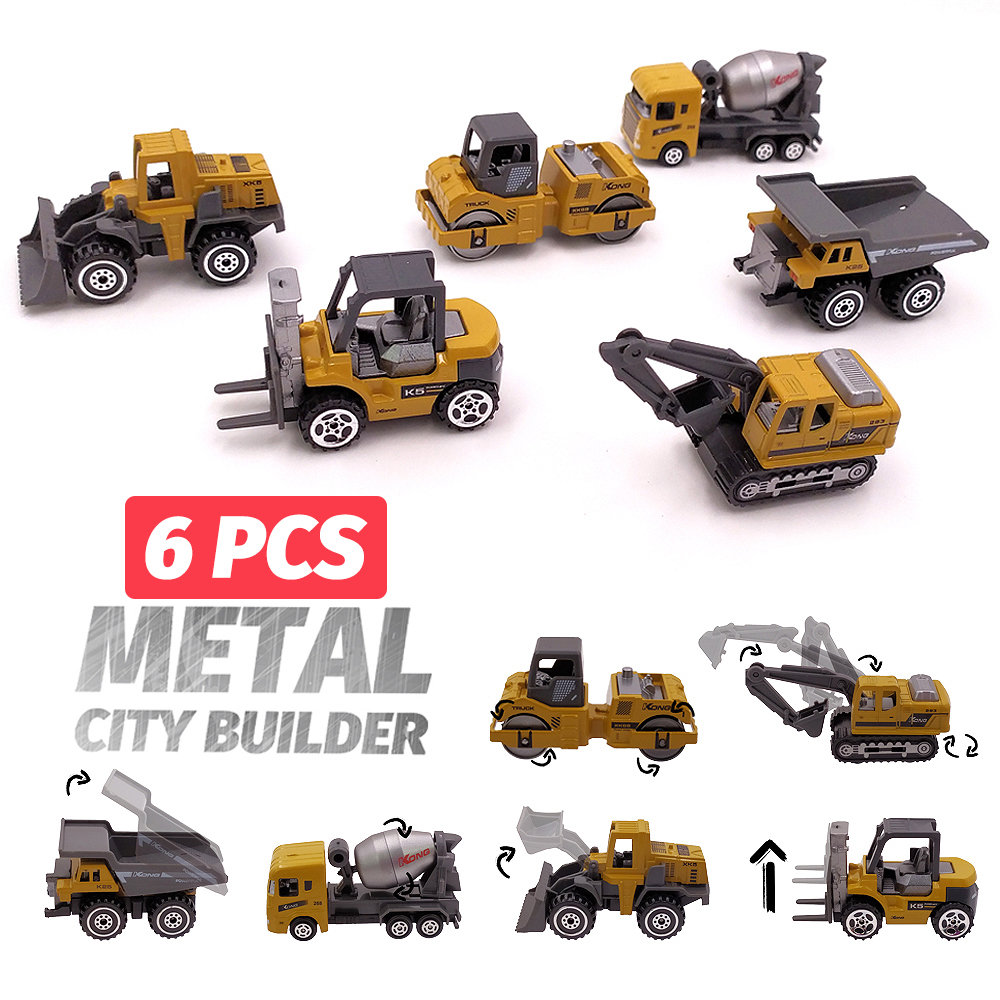 6 Pcs Alloy Mini Engineering Car Model 6in1 1:64 Metal Diecast Engineering Toy Vehicle Car Toy Dump Truck Forklift Excavator