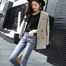 Plaid Women Blazer Autumn Pockets Jackets Female Retro Suits