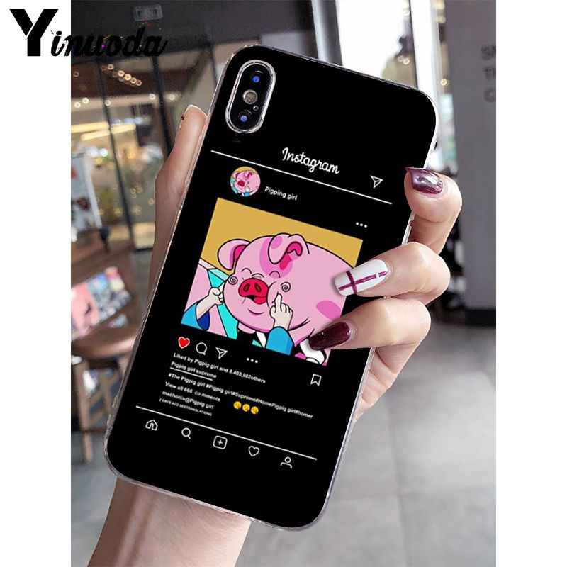 Yinuoda Cartoon Pig Print Pattern Smart Cover Soft Phone Case for Apple iPhone 8 7 6 6S Plus X XS MAX 5 5S SE XR Mobile Cases