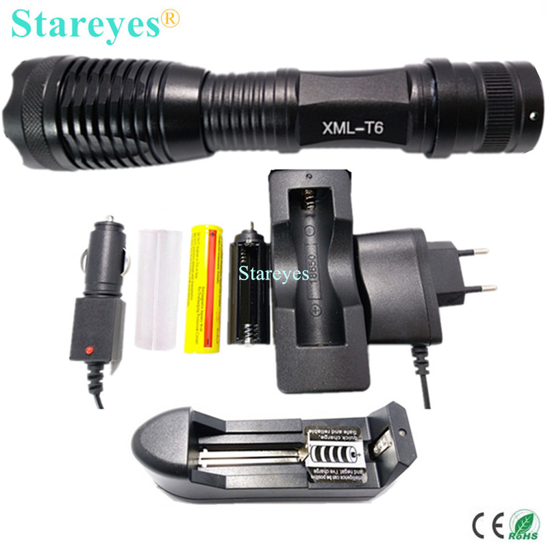 1 Set E17 CREE XML-T6 4000LM LED Torch lamp Adjustable Zoomable light LED Flashlight+18650 5000mAh Rechargeable battery+Charger hot sale 3x cree xml t6 led headlamp bike light 5000 lumen 18650 led head light 4x18650 battery pack charger bike rear light