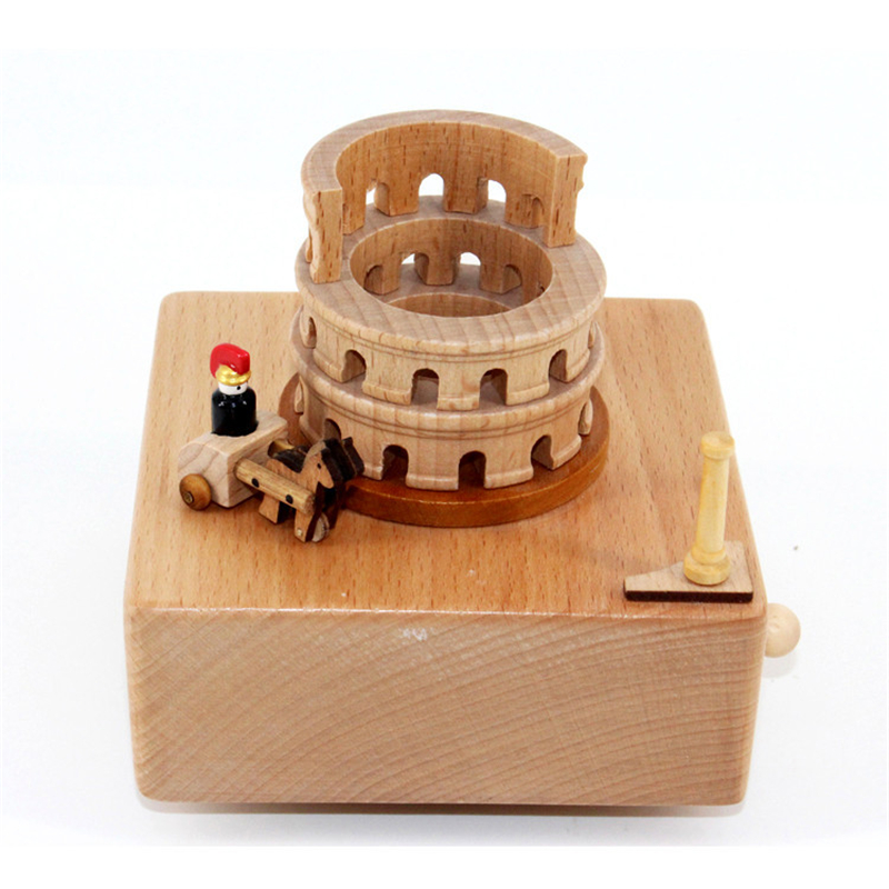 Roman Colosseum Music Box Amphitheatrum Flavium Wood Musical Crafts Italian Travel Souvenirs Present for Friends Home Decoration
