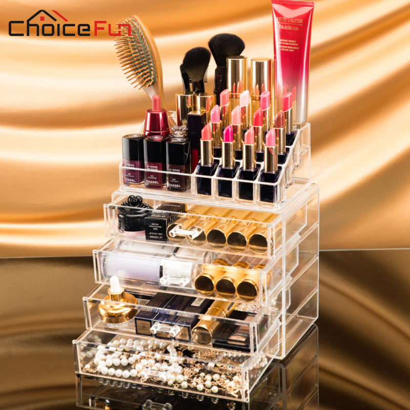 CHOICEFUN Home Desktop Clear Large Plastic Storage Box Lipstick Holder Acrylic Cosmetic Drawer Make Up Makeup