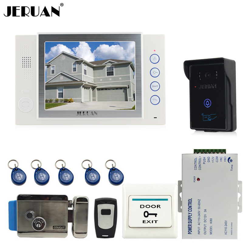 JERUAN 8`` video door phone doorbell intercom system home access control system RFID video recoreding+power supply FREE SHIPPING
