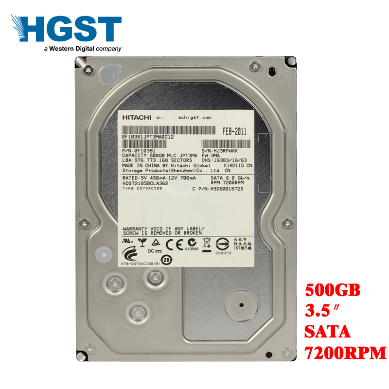 """HGST 500GB Desktop Computer 3.5"""" Internal Mechanical Hard Drive SATA 3Gb-6Gb/s Hard Drive 16M 500 GB 5700RPM-7200RPM"""