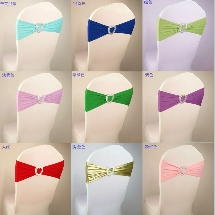 Lycra Elastic bow chair sashes 50pcs lot Love heart buckle wedding decoration bow chair cover Free