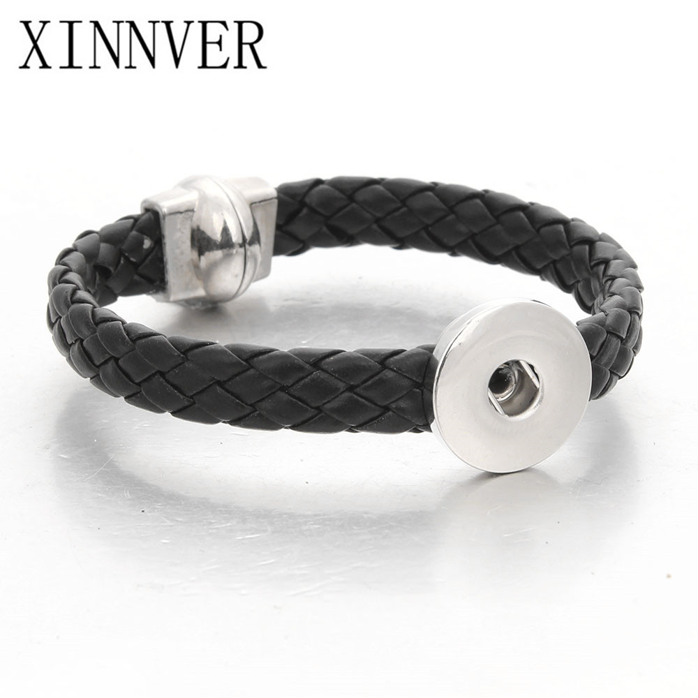 Hot Sale Black Leather Snap Bracelet for 18 MM Snaps Men Leather Button Bracelets fit 18mm 20mm Snap Buttons Jewelry