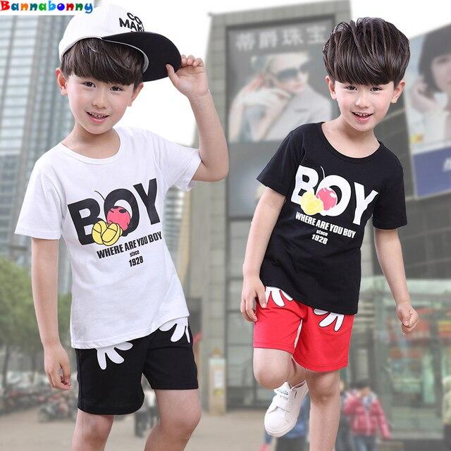 Verano de los bebés del niño del deporte ropa de los niños de dibujos  animados camisetas 2d11ba8a6f743