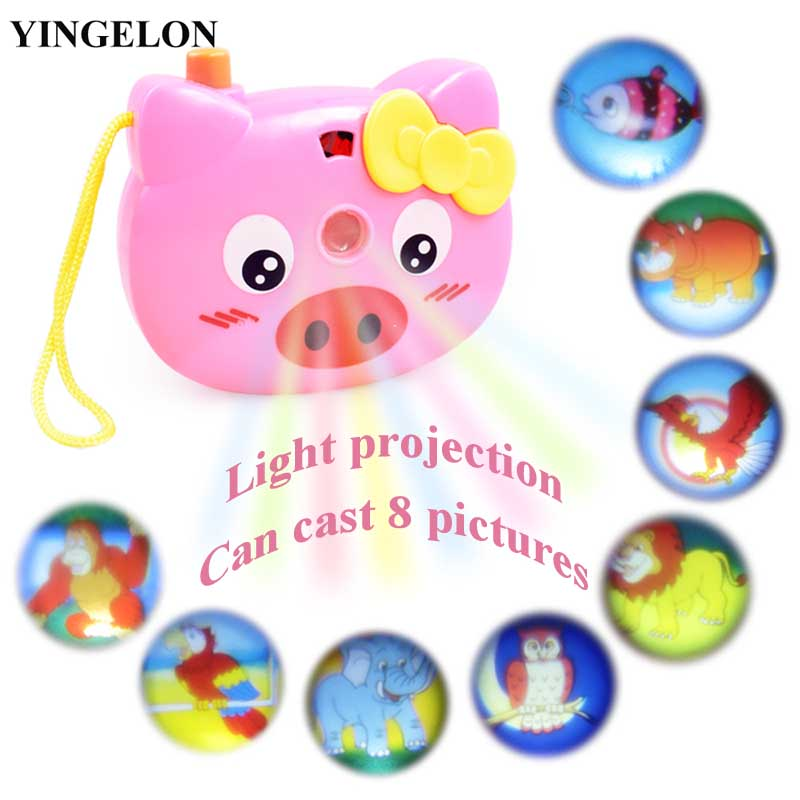 YINGELON 1pcs Cute Plastic Mini Light Projection Toy Camera For Kids Educational Toys For Children Animals World Battery Palyer