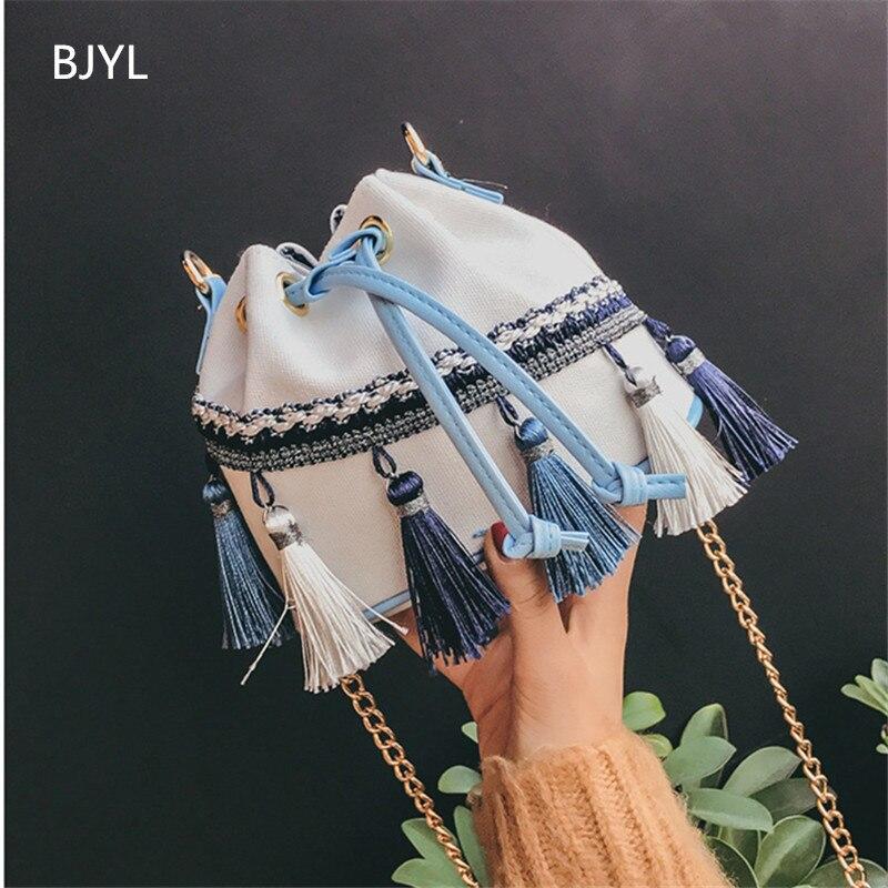 Canvas Female Tassel Bucket Bag Patchwork Handbags Messenger Bags Mini Shoulder Bags With Chain Boho Style