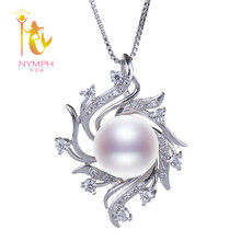 NYMPH Brand Natural Freshwater Pearl Necklace Pendant Pearl Jewlery Choker Stone White Necklace Fine jewelry Party Gift