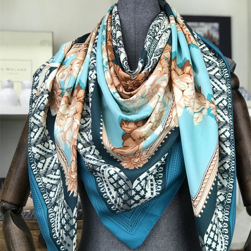 2018 woman Fashion silk Scarf flowers Pattern Printing 130 Square scarf Decoration Headdress Gift headscarf high quality Shawl in Women 39 s Scarves from Apparel Accessories