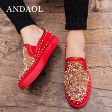 купить ANDAOL Men's Leather Casual Shoes Handmade Top Quality Sequined Rivet Men Loafers New Luxury Slip-On Wedding Dress party shoes дешево