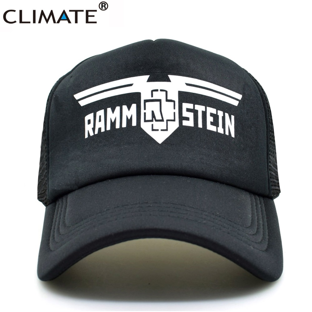 CLIMATE Heavy Metal Rammstein Rock Band Summer Cool Mesh Caps Rock Rammstein Cool Fans Summer Baseball Mesh Net Trucker Cap Hat climate men women summer cool mesh cap remix music dj hardwell on air fans cool baseball mesh summer net trucker caps hat fans