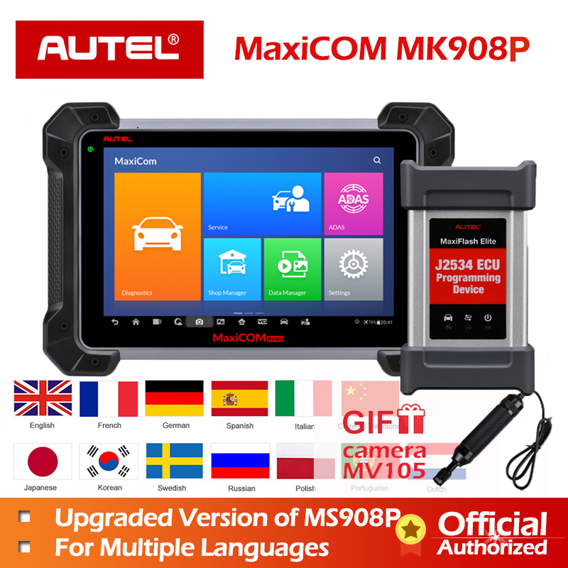 Autel MaxiCOM MK908P MK908 PRO Diagnostic Tool MaxiSys MS908P OBD2 Scanner PK MaxiSys Pro Elite ECU Programming for BMW for BENZ-in Engine Analyzer from Automobiles & Motorcycles