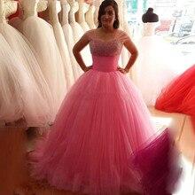 Vestidos de formatura Pink Ballkleid Ballkleider mit perlen 2016 Sheer Flügelärmeln Tüll Abend-partei-kleid Heißer verkauf